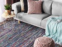 Area Rag Rug Blue Cotton 140 x 200 cm Rectangular