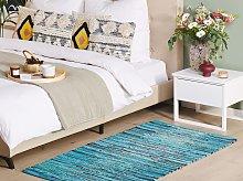 Area Rag Rug Blue Turquoise Stripes Cotton 80 x