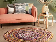 Area Rag Rug Multicolour Cotton ø 140 cm Round