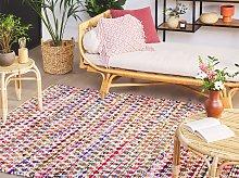 Area Rag Rug Multicolour Cotton 140 x 200 cm