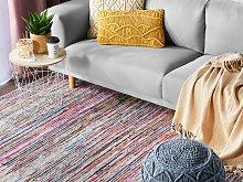 Area Rag Rug Multicolour Stripes Cotton 140 x 200
