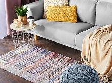 Area Rag Rug Multicolour Stripes Cotton 80 x 150