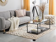 Area Rug Beige and Black Shaggy 160 x 230 cm