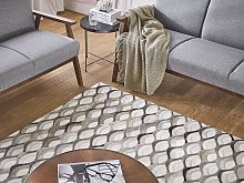 Area Rug Beige and Brown Cowhide Leather 140 x 200