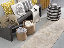 Area Rug Beige Cotton Distressed Effect 60 x 180