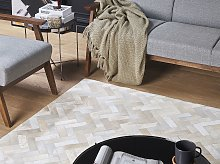 Area Rug Beige Cowhide Leather 160 x 230 cm