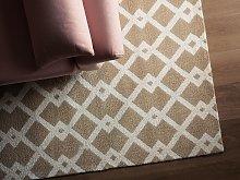 Area Rug Beige Fabric 140 x 200 cm Geometric