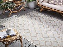 Area Rug Beige Fabric 140 x 200 cm Reversible