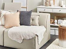 Area Rug Beige Faux Rabbit Fur Polyester 60 x 90