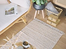 Area Rug Beige Jute and Cotton 80 x 140 cm Fringed