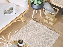 Area Rug Beige Jute and Cotton 80 x 150 cm Fringed