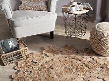 Area Rug Beige Jute Round Boho Living Room ø 120