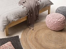 Area Rug Beige Round 140 cm Boho Rustic Country