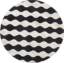 Area Rug Beige with Black Patchwork Waves Round