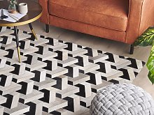 Area Rug Black and White Cowhide Leather 160 x 230