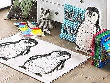 Area Rug Black and White Penguin Print 60 x 90 cm