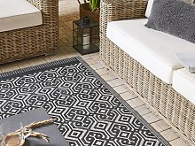 Area Rug Black and White Recycled Polypropylene