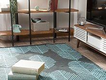 Area Rug Black Blue Fabric 140 x 200 cm Reversible
