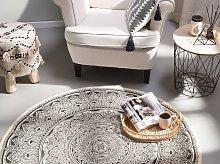 Area Rug Black Cotton Round Oriental Living Room