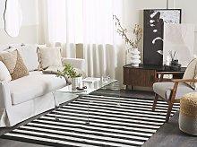 Area Rug Black White Fabric 140 x 200 cm Indoor