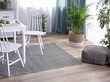 Area Rug Black White Fabric 160 x 230 cm Indoor