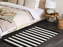 Area Rug Black White Fabric 80 x 150 cm Indoor