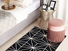 Area Rug Black with Silver Geometric Pattern