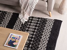 Area Rug Black with White Rectangle 140 x 200 cm