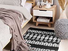 Area Rug Black with White Rectangle 80 x 150 cm