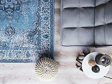 Area Rug Blue 140 x 200 cm Oriental Distressed