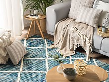 Area Rug Blue 140 x 200 cm Wool Geometric Pattern