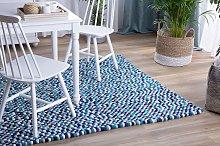 Area Rug Blue 160 x 230 cm Wool Felt Ball