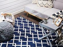 Area Rug Blue Fabric 140 x 200 cm Geometric