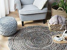 Area Rug Blue Jute Round Boho Living Room ø 120 cm
