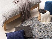 Area Rug Blue with Beige Cotton Jute Round 140 cm