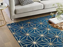 Area Rug Blue with Gold Geometric Pattern Viscose