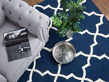 Area Rug Blue Wool 140 x 200 cm Trellis Quatrefoil