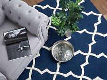 Area Rug Blue Wool 80 x 150 cm Trellis Quatrefoil