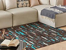 Area Rug Brown and Blue Cowhide Leather 140 x 200