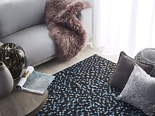 Area Rug Brown and Blue Genuine Cowhide Leather