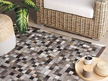 Area Rug Brown and Grey Cowhide Leather 140 x 200