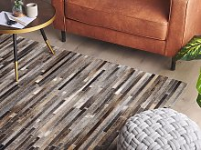 Area Rug Brown and Grey Cowhide Leather 160 x 230