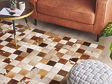 Area Rug Brown and White Cowhide Leather 140 x 200