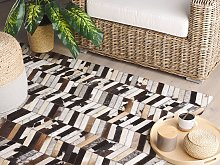 Area Rug Brown and White Cowhide Leather 160 x 230