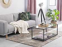 Area Rug Brown Cotton Distressed Effect 160 x 230