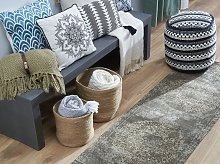 Area Rug Brown Cotton Distressed Effect 60 x 180