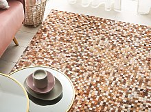 Area Rug Brown Cowhide Leather 140 x 200 cm