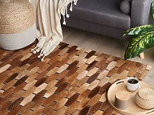 Area Rug Brown Cowhide Leather 160 x 230 cm