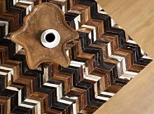 Area Rug Brown Leather 140 x 200 cm Patchwork