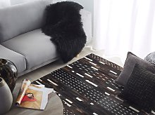 Area Rug Brown Leather with Woolen String 160 x